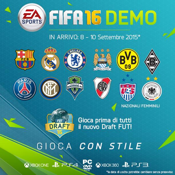 FIFA 16: data di uscita e contenuti della demo giocabile