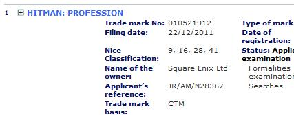 Square Enix ha registrato il marchio Hitman: Profession