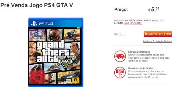 GTA 5: versione PlayStation 4 nel listino di un negozio portoghese