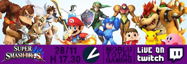 Super Smash Bros Wii U giocato da Morlu Total Gaming in diretta dalle 17:30