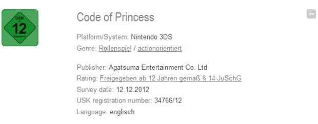 Code of Princess valutato dall'USK