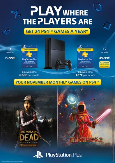 Magicka 2 e The Walking Dead Season 2 tra i titoli PlayStation Plus di novembre?