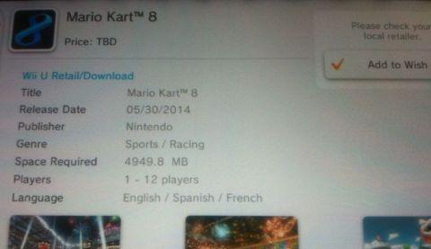 Mario Kart 8: svelato il peso dell'edizione digitale