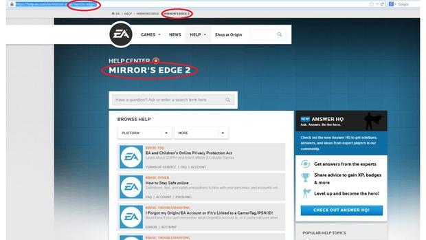 Mirror's Edge 2: appare una pagina supporto sul sito di EA