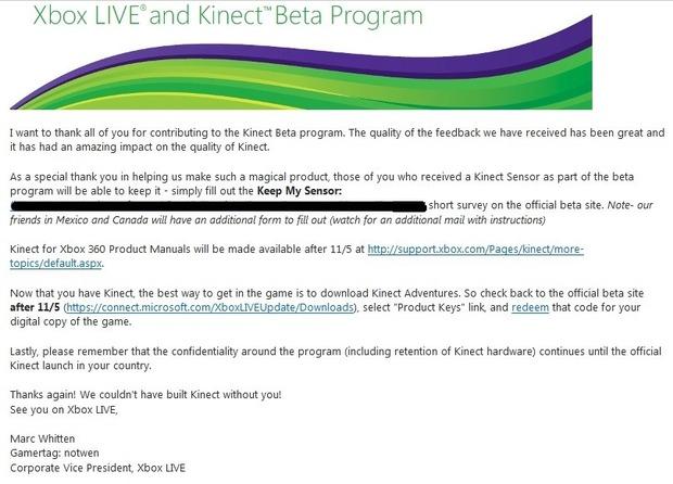 I beta tester di Kinect potranno tenersi la periferica?