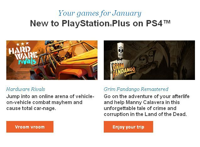 PlayStation Plus: Hardware Rivals e Grim Fandango Remastered per PS4 tra i giochi gratis di gennaio?
