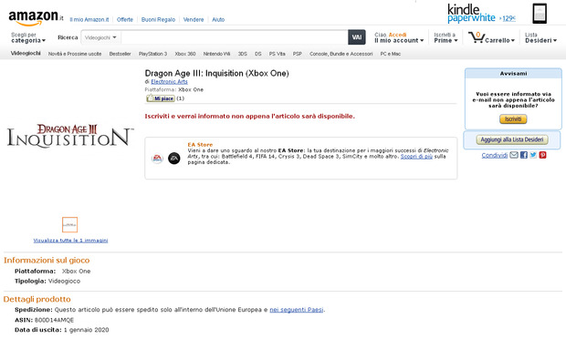 Dragon Age 3: Inquisition, Amazon lo aggiunge al listino dell'Xbox One
